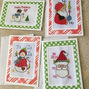 New 4 hand sewn Xmas greeting cards, envelopes